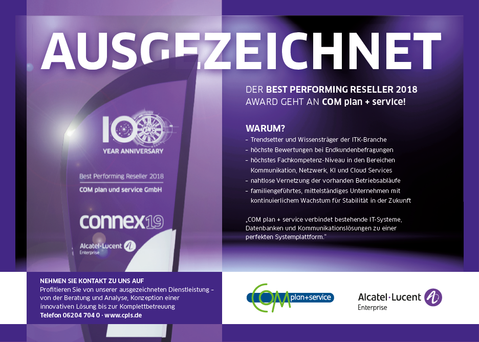 COM plan + service GmbH Best Performing Reseller